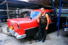 Man With Vintage 1950s Chevy
